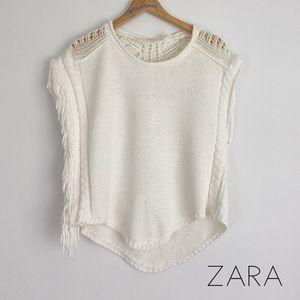 Zara Knit White Side Fringe Sleeveless Sweater M